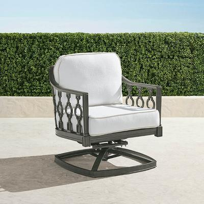 Avery Swivel Lounge Chair with Cushions in Slate Finish - Sailcloth Sailor, Solid, Special Order - Frontgate