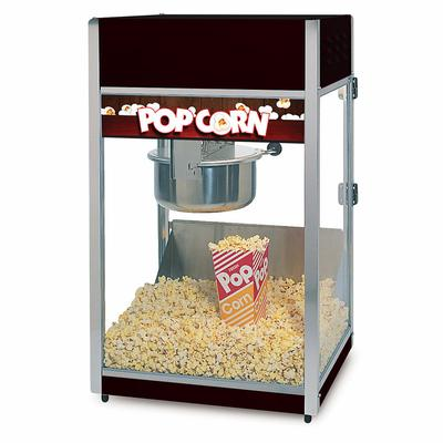 Global Solutions GS1508 Popcorn Machine w/ 8 oz Kettle - Stainless Steel w/ Black Finish, 120v on Sale