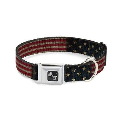 Buckle-Down Vintage US Flag Seatbelt Buckle Dog Collar, Wide Large; Your patriotic pooch will be walking tall and proud in the Buckle-Down Vintage US Flag Seatbelt Buckle Dog Collar. He's sure to turn heads in this unique design featuring Buckle-Down's...