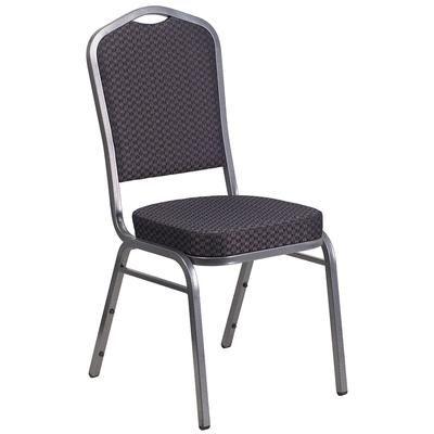 Flash Furniture HF-C01-SV-E26-BK-GG Stacking Hercules Banquet Chair w/ Crown Back - Black Fabric, Silver Frame on Sale