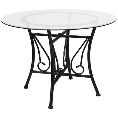 Flash Furniture XU-TBG-18-GG 42 Round Princeton Dining Table w/ Glass Top - 29H, Metal Frame, Black on Sale