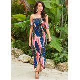 OFF THE Shoulder Maxi Dress - Multi/pink