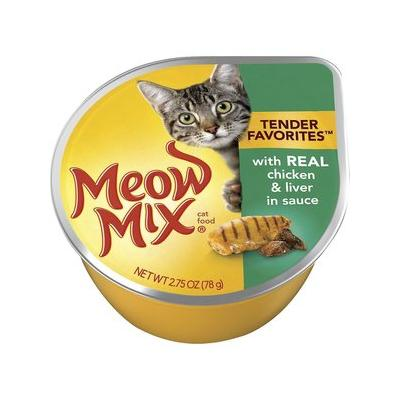 Meow Mix Tender Favorites with Real Chicken & Liver in Sauce Cat Food Trays, 2.75-oz, case of 12