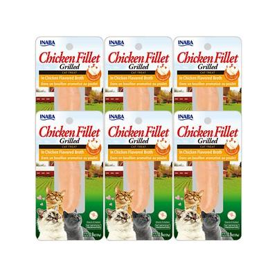 Inaba Ciao Grain-Free Grilled Chicken Fillet in Chicken Flavored Broth Cat Treat, 0.9-oz pouch, pack of 6
