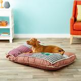 Aspen Pet Quilted Novelty Pillow Dog Bed w/Removable Cover, Color Varies