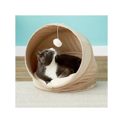 Frisco Foldable Canopy Cat Bed, Sandy Beige; The Frisco Foldable Canopy Cat Bed is made for snuggling and for play. When it's time for a nap, your kitty can catch some z's inside this cozy nook. This bed has a removable pillow that provides plenty of...