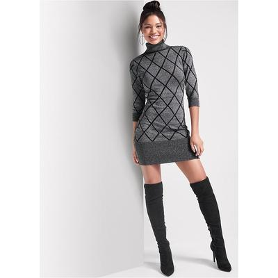 Turtleneck Sweater Dress  Black/grey