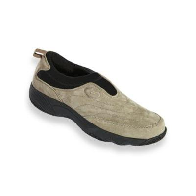 Men's Propet® Wash & Wear Leather and Suede Slip-Ons, Gunsmoke Grey 14 Extra Wide