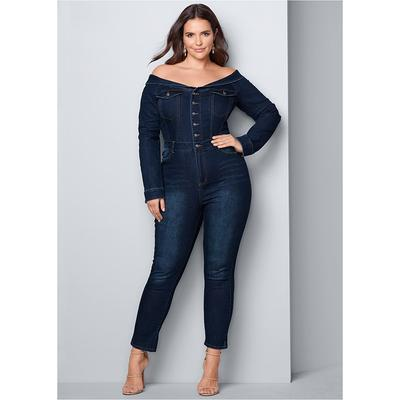 Plus Size Denim Jumpsuit Jumpsuits & Rompers - Blue