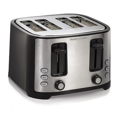 Hamilton Beach 24633 4 Slice Toaster w/ Extra Wide Slots, Black/Silver on Sale