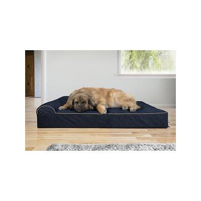 FurHaven Quilted Faux Fur & Velvet Goliath Chaise Dog Bed, Dark Blue, 4X-Large
