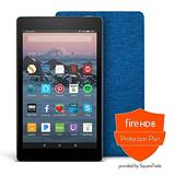 Amazon - Fire HD 8 Protection Bundle with Fire HD 8 Tablet (16 GB, Black), Amazon Cover (Marine Blue), Protection Plan (2-Year)