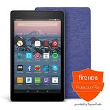 Amazon - Fire HD 8 Protection Bundle with Fire HD 8 Tablet (32 GB, Black), Amazon Cover (Cobalt Purple), Protection Plan (2-Year)