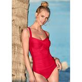 Ruched Bra One-Piece One-Piece Swimsuits & Monokinis - Red