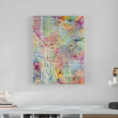 Wrought Studio Portland Oregon Street Map Graphic Art Print On Canvas Canvas Fabric In Brown Green Pink Size 32 H X 24 W X 2 D Wayfair Shefinds