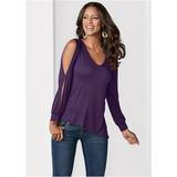 V-Neck Cold Shoulder Top Tops - Purple