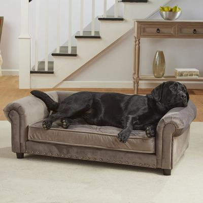 "Enchanted Home Pet Grey Velvet Manchester Pet Sofa, 44.5"" L x 27.5"" W, X-Large, Gray"