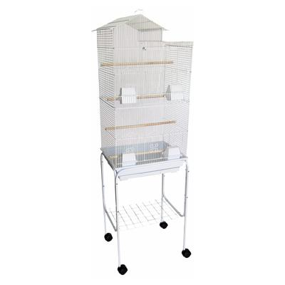 YML Bar Spacing Tall Villa Top White Bird Cage With Stand, 18\