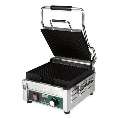 Waring WPG150 Commercial Panini Press w/ Cast Iron Grooved Plates, 120v on Sale
