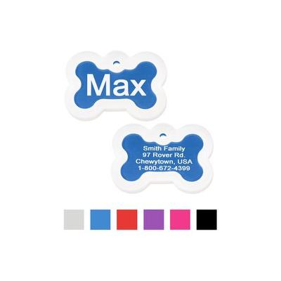 GoTags Personalized Anodized Aluminum ID Tag with Silencer, Bone, Blue, Regular