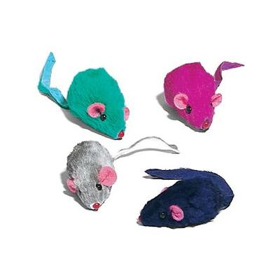 Ethical Pet Spot Rainbow Plush Rattling Catnip Mice Cat Toy, Color Varies, 12-pack
