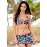 Marilyn Push UP BRA TOP Push-Up Bikini Tops - Multi/blue/yellow