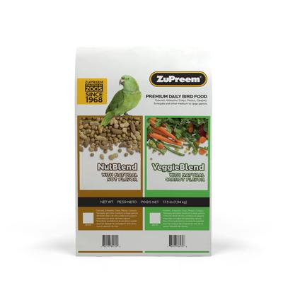 Tantalizing nutty flavor, aromas and shapes ensure even fussy parrots receive complete nutrition. ZuPreem NutBlend with Natural Nut Flavor Premium Daily Bird Food offers a smart solution for parrots \