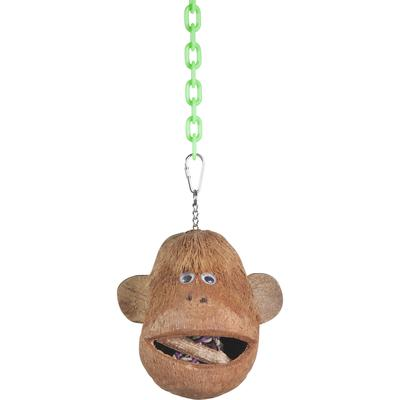 Hang cute monkey head in your bird\'s cage and watch him climb all over it to explore the fibrous head, ears that stick out, and googly eyes. Monkey head is an entire coconut shell with \