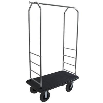 CSL 2000BK-080 Easy Mover Bellman's Luggage Cart w/ Black Carpet, Stainless on Sale
