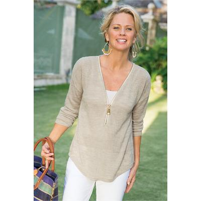 Soft Surroundings Women Valentina Zip Sweater in Stone size 1X (18-20)