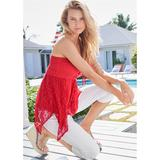 Lace Inset Smocked TOP Tops - RED