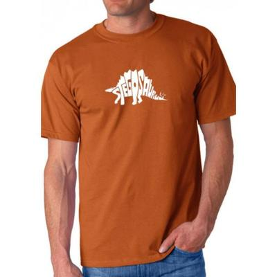 LA Pop Art Orange Word Art T Shirt - Stegosaurus