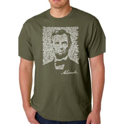 LA Pop Art Military Word Art T Shirt – Abraham Lincoln - Gettysburg Address